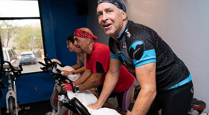 Why are these spinners smiling? They spinning at Sierra Fitness, of course.